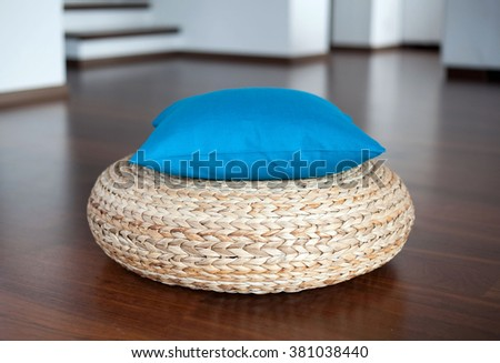 Blue decorative pillow in interior