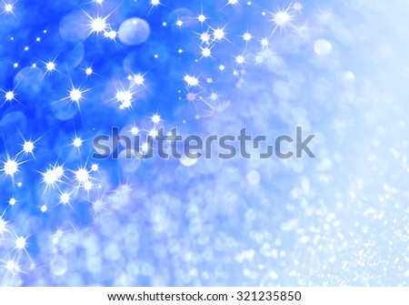 Blue defocused glitter background with copy space - stock photo