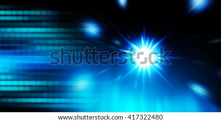 blue Defocused Light, Flickering Lights,  abstract festive background with bokeh defocused lights. star. motion move - stock photo