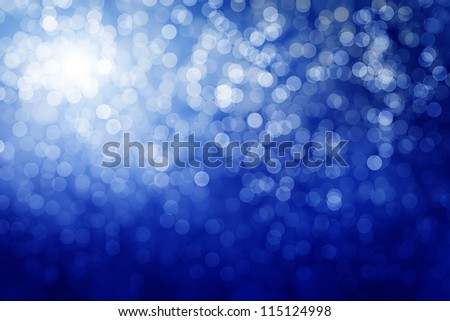 Blue defocused lights. Winter background - stock photo