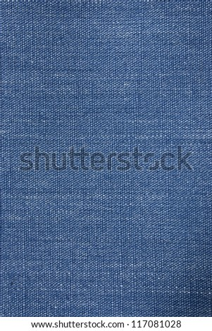 Blue denim background closeup with visible weave - stock photo