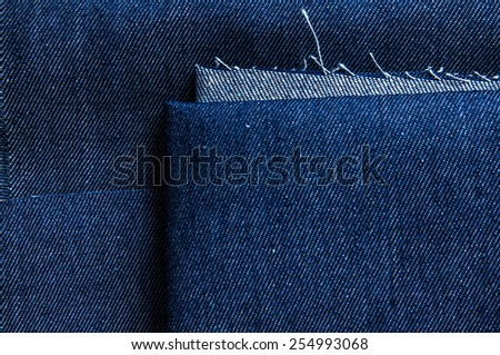 Blue Denim Jean Fabric, Prepare Cut to use. / Concept and Idea of Denim Industry, Sewing and Fashion, Vintage Rustic Style. Pattern, Background, Wallpaper and Textured. - stock photo