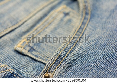 Blue Denim jeans pocket close-up  - stock photo