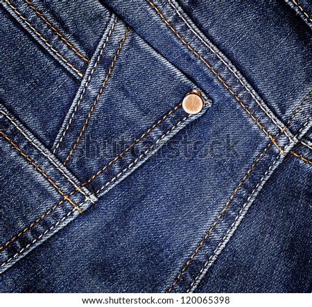 Blue  denim jeans texture. Background. Close up - stock photo