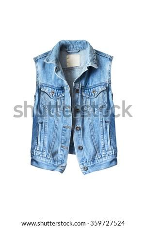 Blue denim vest on white background - stock photo