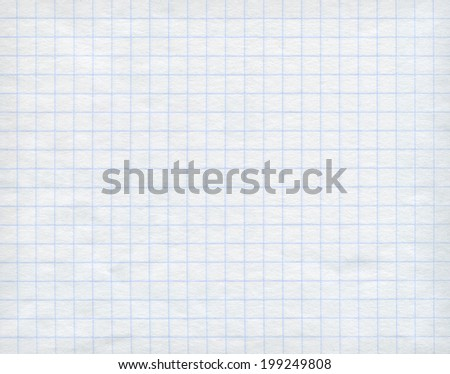 Blue detailed math paper pattern on white background. High resolution image. - stock photo