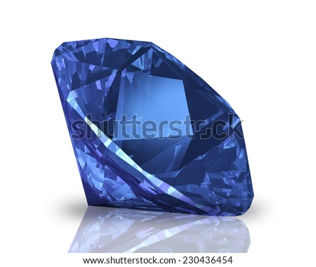 blue diamond lies on one of sides - stock photo