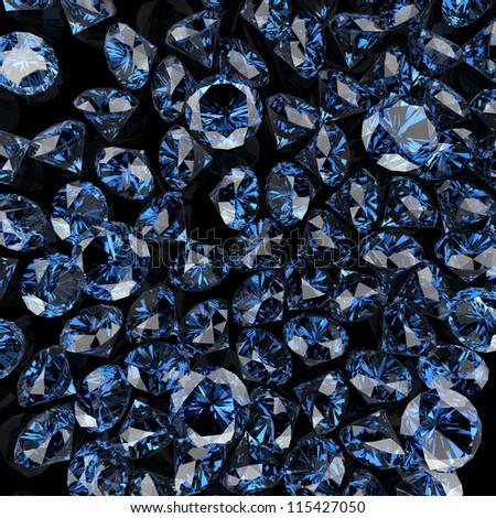 blue diamond on black background - stock photo