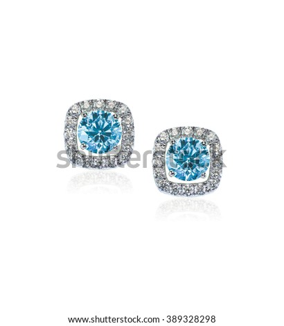 Blue Diamond stud earrings isolated on white - stock photo