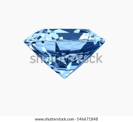 Blue diamond with clipping path isolated on white