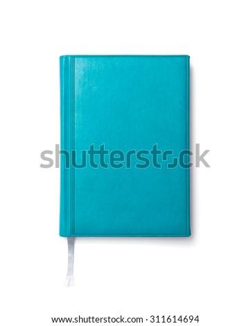 Blue diary on a white background - stock photo