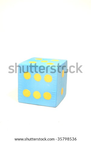 blue die over white background - stock photo