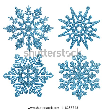 Blue different snowflakes on a white background. - stock photo