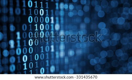 blue digital binary data on computer screen. Close-up shallow DOF