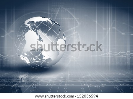 Blue digital image of globe. Background image - stock photo