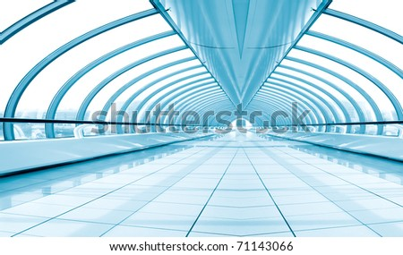 blue diminishing corridor, bridge interior - stock photo
