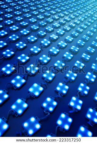 Blue Diodes outdoor matrix board - stock photo