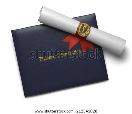 Blue Diploma of Graduation Cover with Degree Scroll and Torch Medal Isolated on White Background. - stock photo