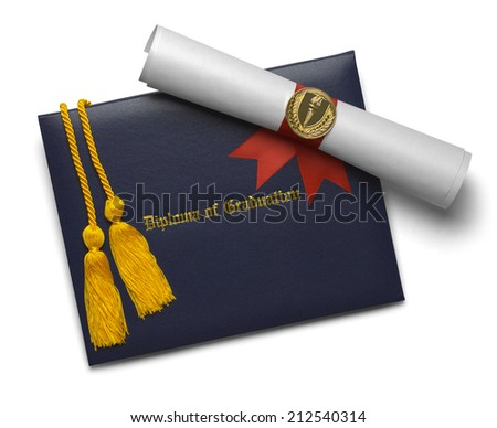 Blue Diploma of Graduation Cover with Degree Scroll and Torch Medal with Honor Cords Isolated on White Background. - stock photo