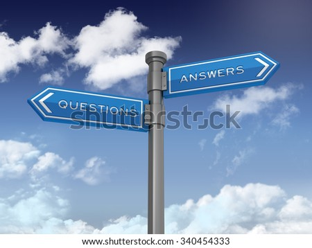 Blue Directional Sign with Questions and Answers Text on Blue Sky and Clouds Background. High Quality 3D Rendering.