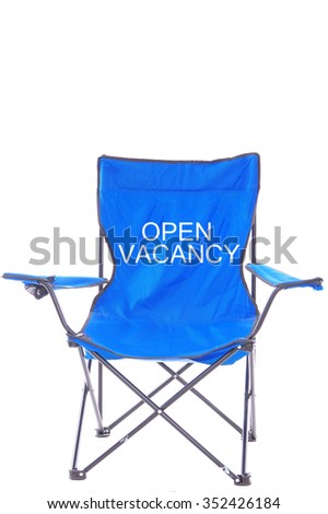 """blue Director chair isolated on white background with the word of """"open vacancy"""" - stock photo"""
