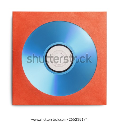 Blue disc in Red Case Isolated on a White Background. - stock photo