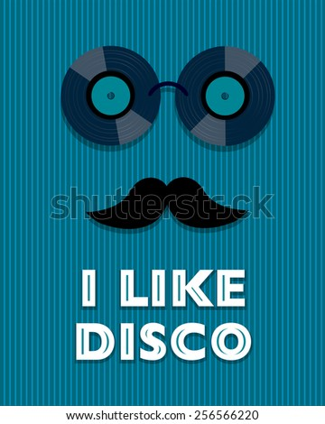 blue disco poster with hipster - stock photo