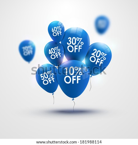 Blue discounts balloons / business background / illustration  - stock photo