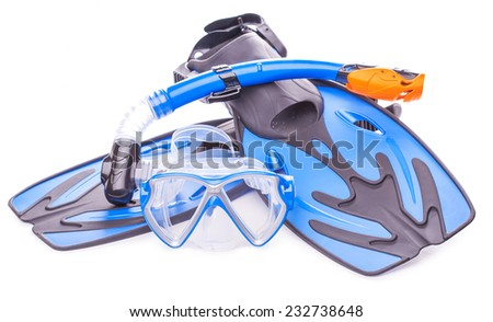 Blue diving goggles,snorkel and flippers on white background.