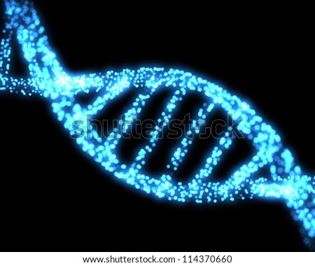 Blue DNA helix background - stock photo