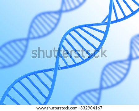 Blue Dna structure with soft focus and gradient background, 3D illustration.