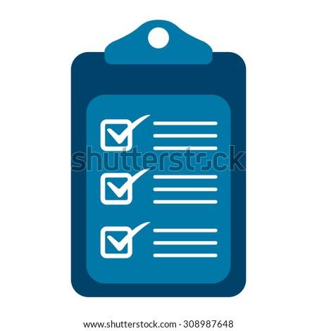 Blue Document Infographics Flat Icon, Sign Isolated on White Background - stock photo