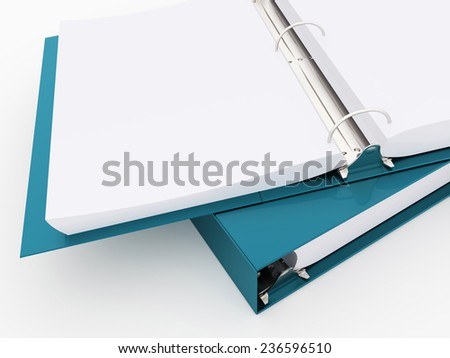 Blue documents folder book rendered on white background - stock photo