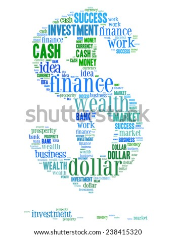 blue dollar sign from the words on White Background  - stock photo
