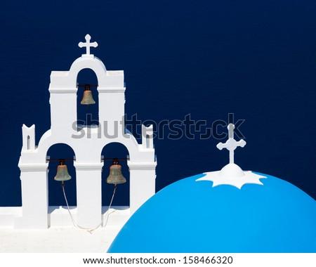 Blue Dome Church at Firostefani near Fira on Thira Island Santorini Greece - stock photo