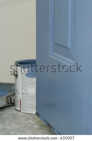 Blue Door and Paint Can - stock photo