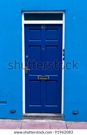 Blue door close up.Brighton,England - stock photo