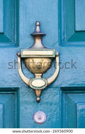 Blue Door in Bray Wicklow Ireland - stock photo