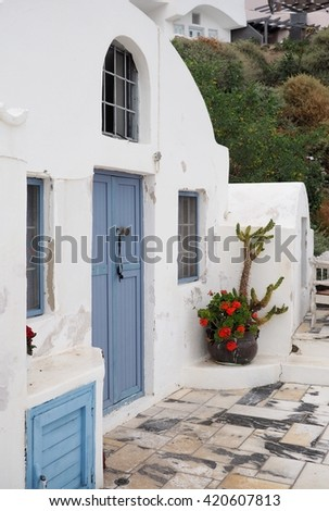 blue door with a flower pot