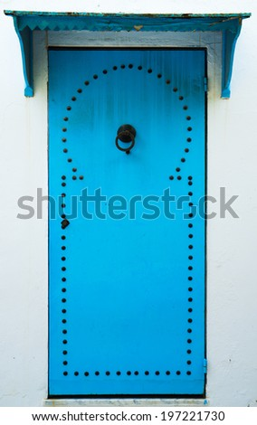 Blue door with pattern from Sidi Bou Said in Tunisia. Large resolution - stock photo