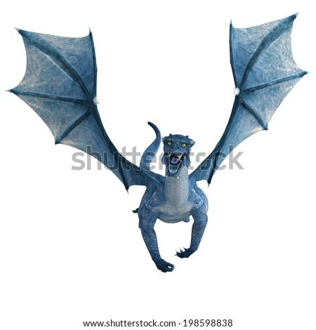blue dragon flying front view - stock photo