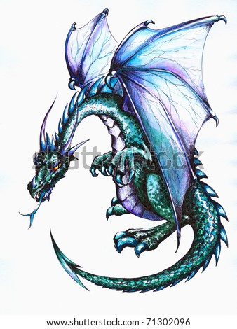Blue dragonpicture have created pen colored stock illustration blue dragonpicture i have created with pen and colored pencils voltagebd Choice Image