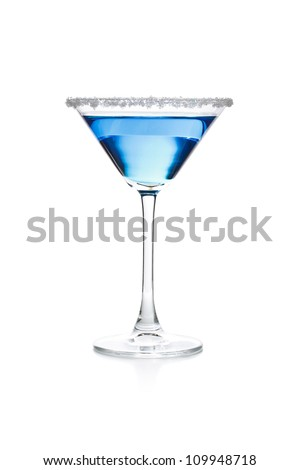 Blue drink on white background - stock photo