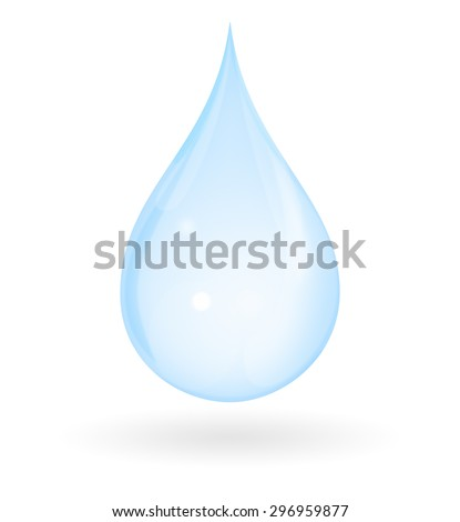 Blue drop of water with shadow isolated on a white background. Represents pure, fresh, natural and innocent.