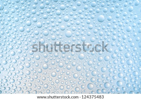 Blue drops of water on glass repellent