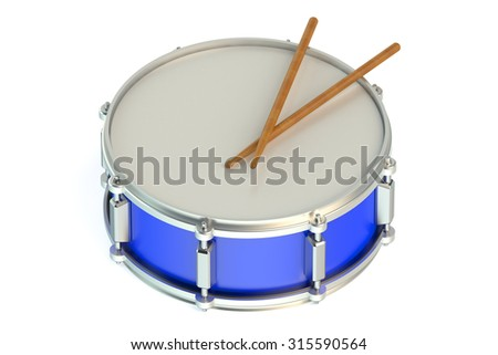 Blue drum isolated on white background