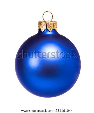 Blue dull christmas ball on white background - stock photo