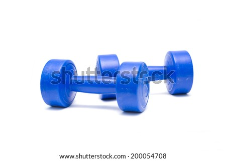 Blue dumbbell isolate on white background, 2kg