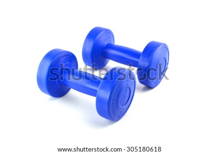Blue dumbbells Isolated on white background