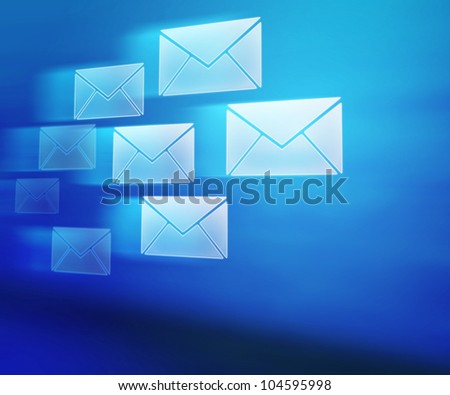 Blue E-mails Abstract Background - stock photo